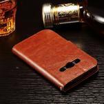 Koženkové peňaženkové puzdro pre Samsung Galaxy Xcover 3 - hnedé - 4/7