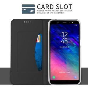 Cardy PU kožené puzdro na Samsung Galaxy A6+ (2018) - čierne - 4