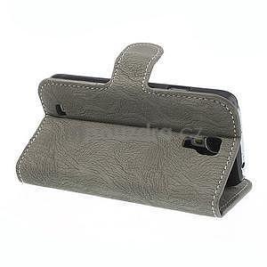 PU kožené peňaženkové puzdro pre Samsung Galaxy S4 - šedé - 4
