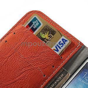 PU kožené peňaženkové puzdro pre Samsung Galaxy S4 - oranžové - 4