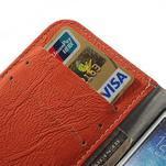 PU kožené peňaženkové puzdro pre Samsung Galaxy S4 - oranžové - 4/7