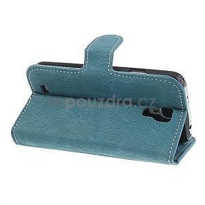 PU kožené peněženkové pouzdro na Samsung Galaxy S4 - modré - 4