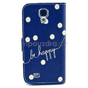 Peňaženkové puzdro pre Samsung Galaxy S4 - kvietky be happy - 4