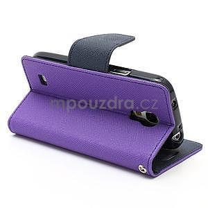 PU kožené peňaženkové puzdro pre Samsung Galaxy S4 mini - fialové - 4