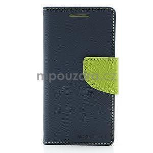 PU kožené peněženkové pouzdro na Samsung Galaxy S4 mini - tmavě modré - 4