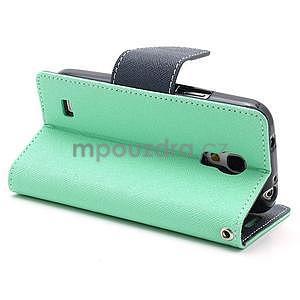 PU kožené peněženkové pouzdro na Samsung Galaxy S4 mini - cyan - 4