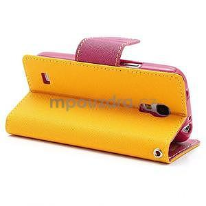 PU kožené peněženkové pouzdro na Samsung Galaxy S4 mini - žluté - 4