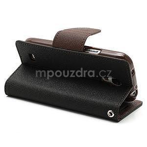 PU kožené peňaženkové puzdro pre Samsung Galaxy S4 mini - hnedé/čierne - 4