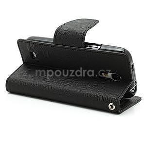 PU kožené peňaženkové puzdro pre Samsung Galaxy S4 mini - čierne - 4