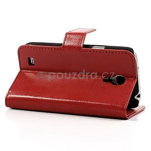 Peňaženkové kožené puzdro na Samsung Galaxy S4 mini - červené - 4