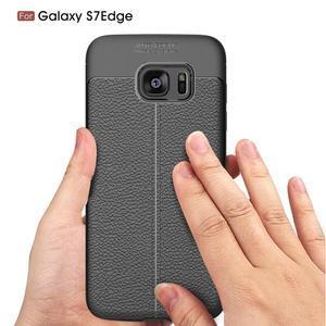 Litch odolný gélový obal s textúrou na Samsung Galaxy S7 Edge - červený - 4