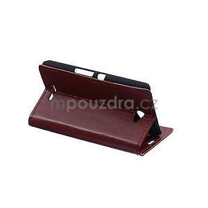 Peněženkové PU kožené pouzdro Sony Xperia E4 - tmavě hnědé - 4