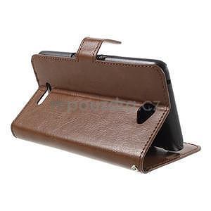 PU kožené peňaženkové puzdro pre mobil Sony Xperia E4 - hnedé - 4