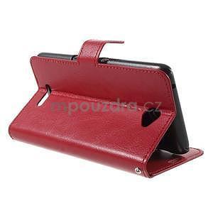 PU kožené peňaženkové puzdro pre mobil Sony Xperia E4 - červené - 4