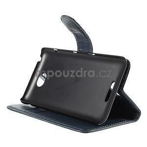 Peněženkové PU kožené pouzdro na Sony Experia E4 - tmavě modré - 4