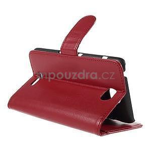 Peňaženkové PU kožené puzdro pre Sony Experia E4 - červené - 4