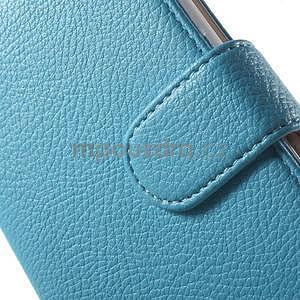 Koženkové pouzdro pro Sony Xperia E4 - světle modré - 4