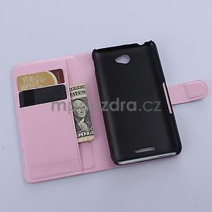 PU kožené Peňaženkové puzdro pre mobil Sony Xperia E4 - ružové - 4