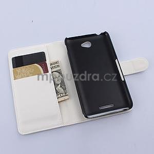 PU kožené Peňaženkové puzdro pre mobil Sony Xperia E4 -  biele - 4