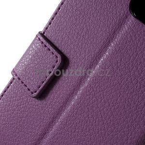 PU kožené peněženkové pouzdro na Sony Xperia E4 - fialové - 4