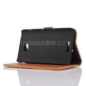 PU kožené PU Peňaženkové puzdro pre Sony Xperia E4 - hnedé - 4