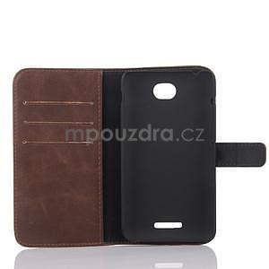 PU kožené PU peněženkové pouzdro na Sony Xperia E4 - coffee - 4