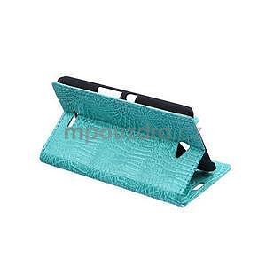 Puzdro s krokodílím vzoromna Sony Xperia E4 - tyrkysové - 4