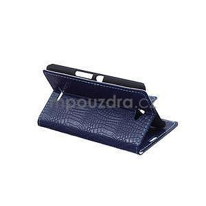 Puzdro s krokodýlím vzorem na Sony Xperia E4 - tmavě modré - 4