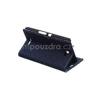 Vzorované peňaženkové puzdro pre Sony Xperia E4 - tmavomodré - 4