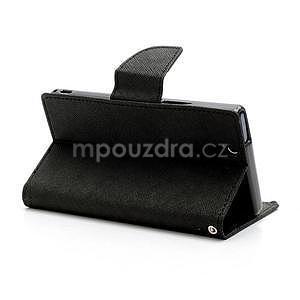 Peňaženkové PU kožené puzdro pre Sony Xperia Z - čierne - 4