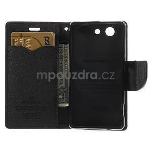 PU kožené peněženkové pouzdro na Sony Z3 Compact - černé - 4
