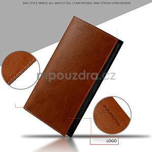 Leathy PU kožené univerzálne puzdro na mobil do 175 x 98 mm - hnedé - 4