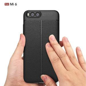 Litchi odolný obal s texturovaným zadným dielom na mobil Xiaomi Mi6 - čierny - 4