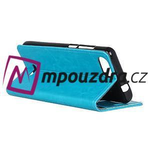 Horse PU kožené peňaženkové puzdro na mobil Xiaomi Redmi 6A - modré - 4