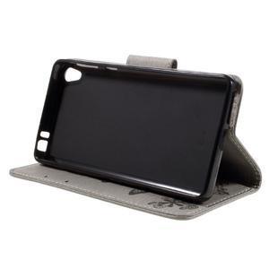 Butterfly PU kožené puzdro na Sony Xperia E5 - šedé - 4
