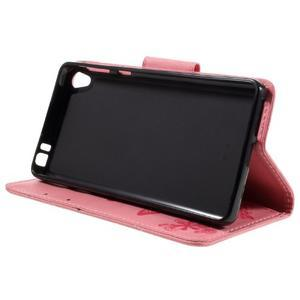 Butterfly PU kožené puzdro pre Sony Xperia E5 - ružové - 4