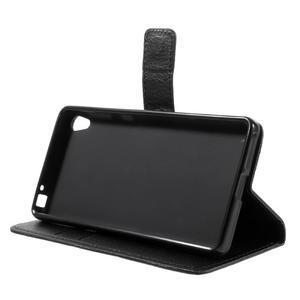 Leathy PU kožené puzdro na Sony Xperia E5 - čierne - 4
