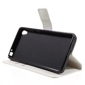 Leathy PU kožené puzdro na Sony Xperia E5 - biele - 4