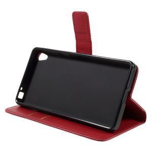 Leathy PU kožené puzdro na Sony Xperia E5 - červené - 4