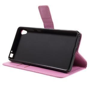 Leathy PU kožené puzdro pre Sony Xperia E5 - ružové - 4