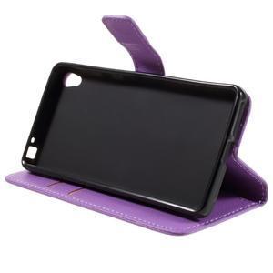 Leathy PU kožené puzdro pre Sony Xperia E5 - fialové - 4