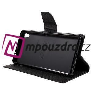 Diary PU kožené puzdro pre mobil Sony Xperia XA Ultra - čierne - 4