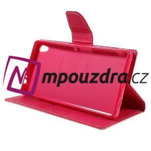 Diary PU kožené puzdro pre mobil Sony Xperia XA Ultra - ružové - 4