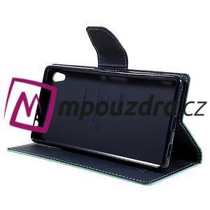 Diary PU kožené puzdro pre mobil Sony Xperia XA Ultra - azurové - 4