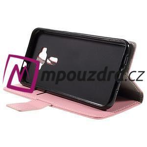 Leathy peňaženkové puzdro na Asus Zenfone 3 ZE520KL - růžové - 4
