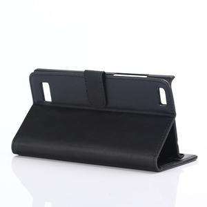 PU kožené peňaženkové puzdro pre BlackBerry Leap - čierne - 4