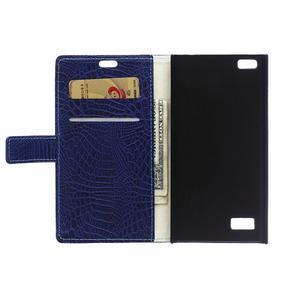 Croco style peňaženkové puzdro pre BlackBerry Leap - tmavomodré - 4