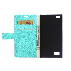 Croco style peněženkové pouzdro na BlackBerry Leap - cyan - 4