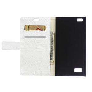Croco style peněženkové pouzdro na BlackBerry Leap - bílé - 4