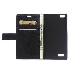 Croco style peňaženkové puzdro pre BlackBerry Leap - čierne - 4